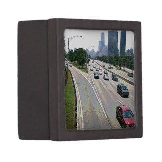 Chicago-Verkehr im Sandstein Schmuckkiste