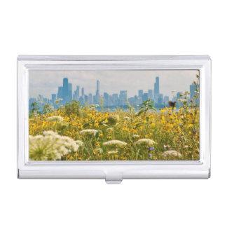 Chicago, wie vom Vogel Montrose Hafens gesehen Visitenkarten Etui