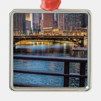 Chicagobrücken u. -lichter silbernes ornament