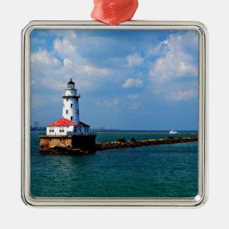 Chicagos Leuchtturm Silbernes Ornament