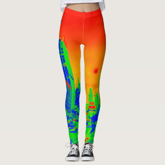 Chicagos Michigan Neonbuntes der Alleen-@ Leggings