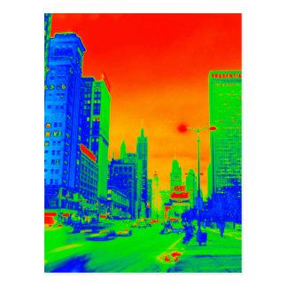 Chicagos Michigan Neonbuntes der Alleen-@ Postkarte