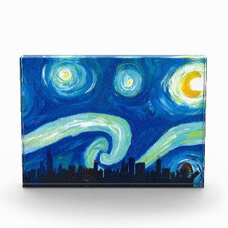 Chicagoskyline-Silhouette nachts Starry Auszeichnung