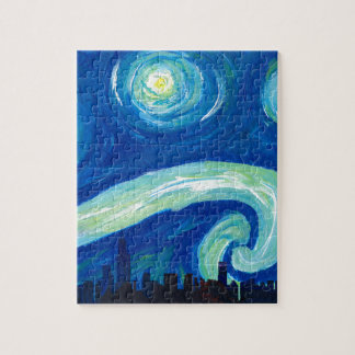 Chicagoskyline-Silhouette nachts Starry Puzzle