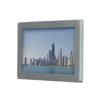 Chicagoskyline-tieferes blaues Foto Rechteckige Gürtelschnallen