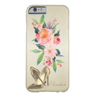 ChicGirly Watercolor-Blumen, Heels-Personalisiert Barely There iPhone 6 Hülle