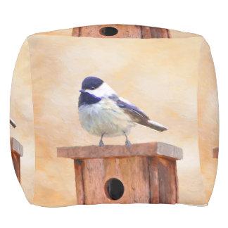 Chickadee auf Birdhouse-Malerei - ursprünglicher Hocker