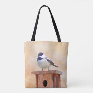 Chickadee auf Birdhouse-Malerei - ursprünglicher Tasche