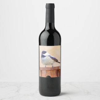 Chickadee auf Birdhouse Weinetikett