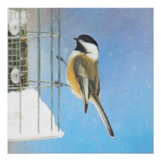 Chickadee auf Zufuhr-Malerei - ursprüngliche Poster
