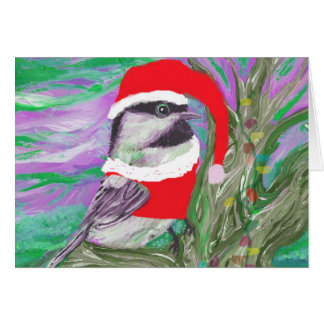 Chickadee gekleidet als Sankt in einem Baum Karte