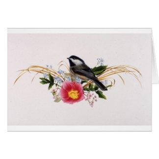 Chickadee mit Blumen Karte