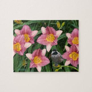 Chickadee mit Blumen - Puzzle
