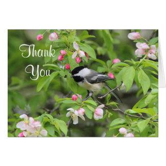 Chickadee- und Frühlingsblüten Karte