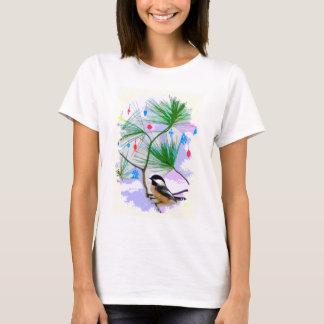 Chickadee-Vogel im Baum-Shirt T-Shirt