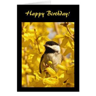 Chickadee-Vogel im gelben Blumen-Geburtstag Karte