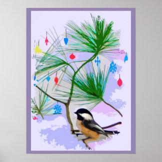 Chickadee-Vogel im Weihnachtsbaum-Plakat Poster