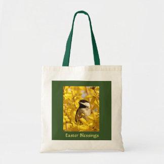 Chickadee-Vogel in gelber Blumen-Ostern-Tasche Tragetasche