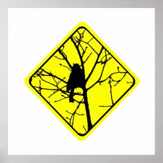 Chickadee-Warnzeichen-Liebe-Vogel-Aufpassen Poster