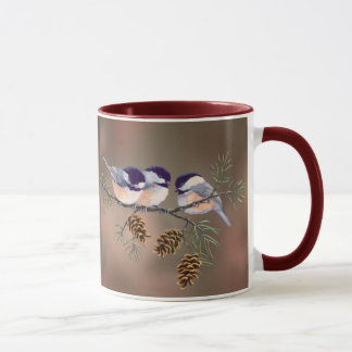 CHICKADEES u. PINECONES durch SHARON SHARPE Tasse