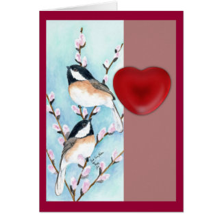 Chickadees-Valentinsgruß Karte