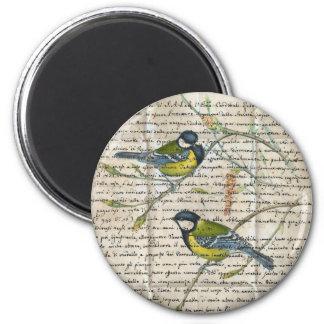 Chickadeesvogelcollage Runder Magnet 5,7 Cm
