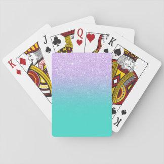 Chicmeerjungfraulavendel-Glitter-Türkis ombre Spielkarten