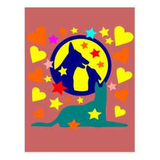 Chien au Clair de Lune étoilée Postkarte