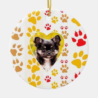 Chihuahua-Herz-Tatzen-Drucke Keramik Ornament
