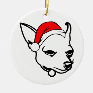 Chihuahua-Hund mit WeihnachtsWeihnachtsmannmütze Keramik Ornament