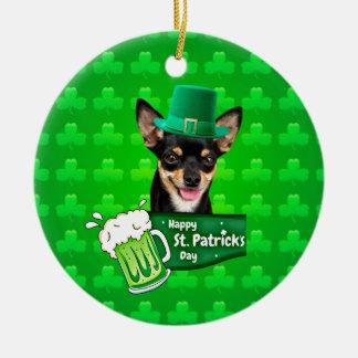 Chihuahua-Hündchen-St Patrick Tagesgrün-Klee Keramik Ornament