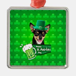 Chihuahua-Hündchen-St Patrick Tagesgrün-Klee Silbernes Ornament