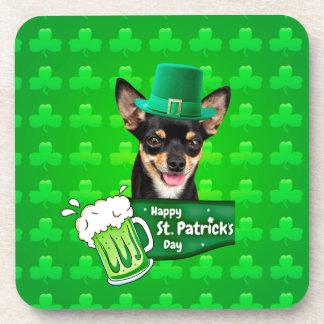 Chihuahua-Hündchen-St Patrick Tagesgrün-Klee Untersetzer
