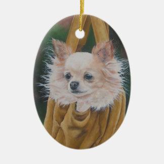 Chihuahua-Hundemalerei-Weihnachtsverzierung Keramik Ornament
