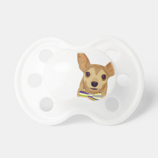 Chihuahua in einem bowtie auf weißem Hintergrund Schnuller