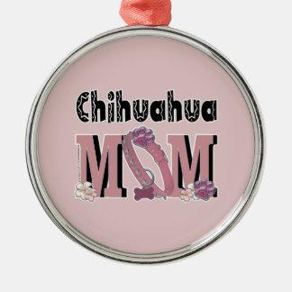 Chihuahua MAMMA Rundes Silberfarbenes Ornament