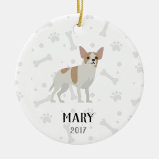Chihuahua-personalisierte Weihnachtsverzierung Keramik Ornament