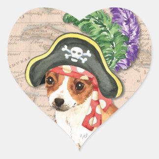 Chihuahua-Pirat Herz-Aufkleber