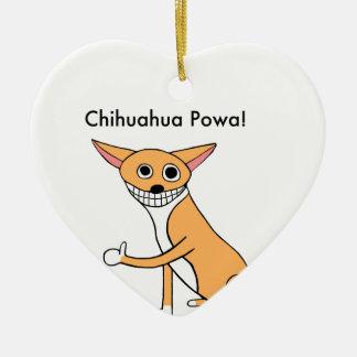 Chihuahua Powa! Keramik Herz-Ornament