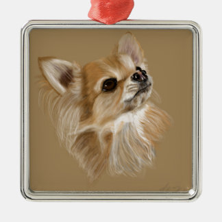 Chihuahua Quadratisches Silberfarbenes Ornament