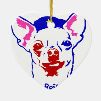 Chihuahua-Revolution Keramik Herz-Ornament