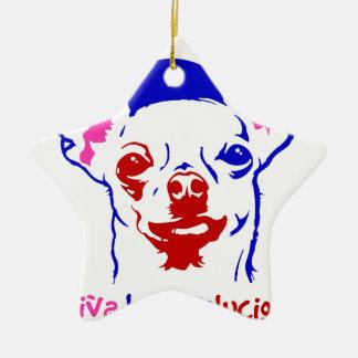 Chihuahua-Revolution Keramik Stern-Ornament