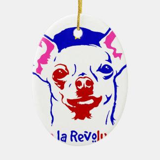 Chihuahua-Revolution Ovales Keramik Ornament