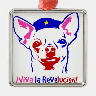 Chihuahua-Revolution Quadratisches Silberfarbenes Ornament