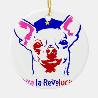 Chihuahua-Revolution Rundes Keramik Ornament