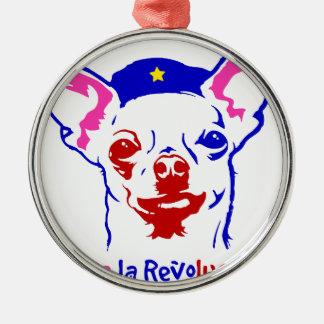 Chihuahua-Revolution Rundes Silberfarbenes Ornament