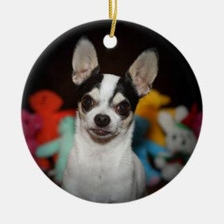 Chihuahua Rundes Keramik Ornament