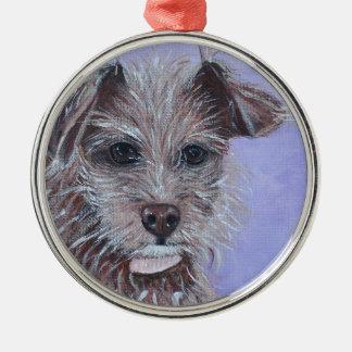 Chihuahua Rundes Silberfarbenes Ornament