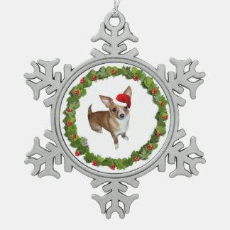 Chihuahua Sankt Schneeflocken Zinn-Ornament