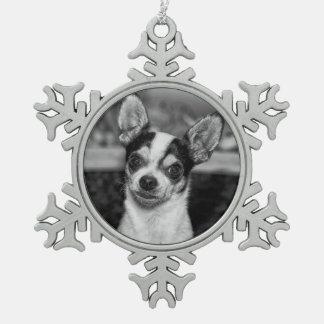 Chihuahua Schneeflocken Zinn-Ornament